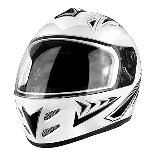 Gloss White Black Full Face Motorcycle Helmet DOT Approved