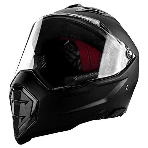 Matte Black Full Face Motorcycle Helmet DOT Approved
