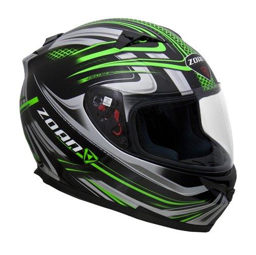 Zoan Blade SV Reborn Green Black Full Face Motorcycle Helmet w Sun Visor X-Large