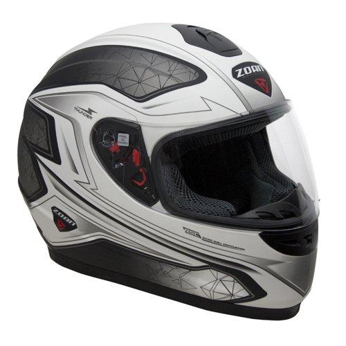 Zoan Thunder Electra Flat Matte White Black Full Face Motorcycle Helmet X-Small
