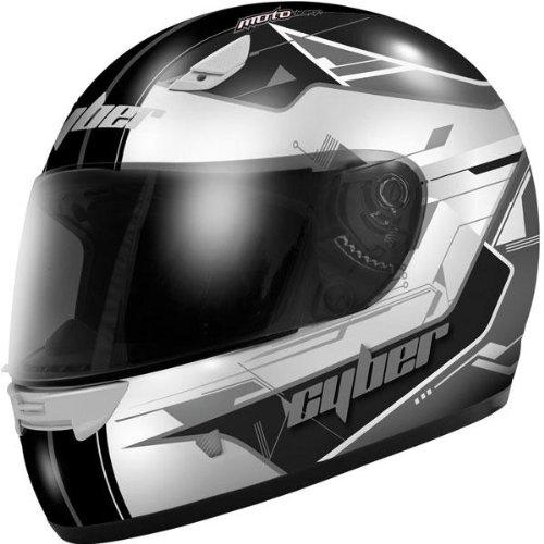 Cyber Helmets US-39 Graphics Helmet  Size XS Primary Color Silver Distinct Name SilverBlack Helmet Type Full-face Helmets Helmet Category Street Gender MensUnisex 640570