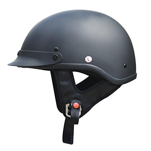 AMZ Half Face Motorcycle HelmetsFlat BlackMediumDOT CruiserTouringChopperHarleyStreet BikeScooterATVsUTV