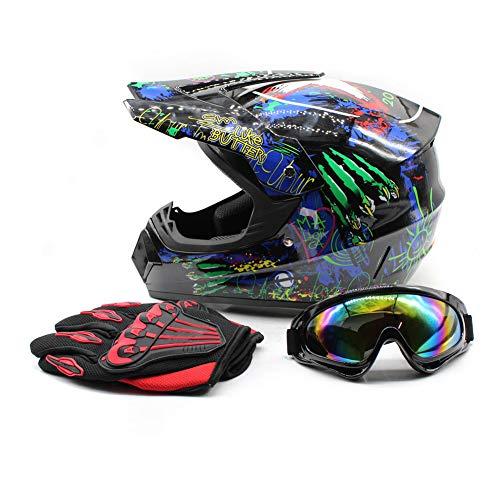 WUPYI Youth Kids Motocross Helmets Offroad Helmet Gloves Goggles DOT Certification Motocross Helmet Motorcycle ATV Dirt Bike Fashion 1 L