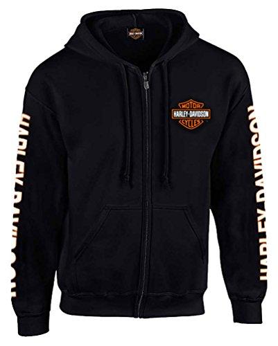Harley-Davidson Mens Hooded Sweatshirt Bar Shield Zip Black 30299142 2XL