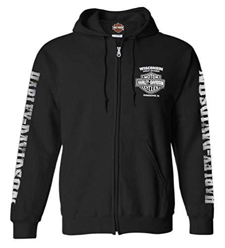 Harley-Davidson Mens Lightning Crest Full-Zippered Sweatshirt Black XL