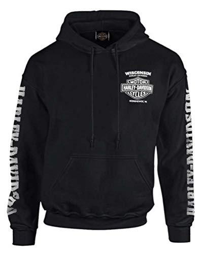 Harley-Davidson Mens Lightning Crest Pullover Hooded Sweatshirt Black 2XL