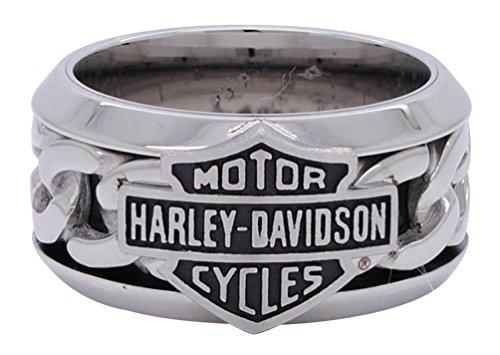 Harley-Davidson Mens Stainless Steel Chain Bar Shield H-D Ring HSR0031 12