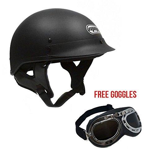 Motorcycle Cruiser Half Helmet DOT Street Legal – Flat Matte Black Large  FREE Goggles Chrome Vintage Pilot Style