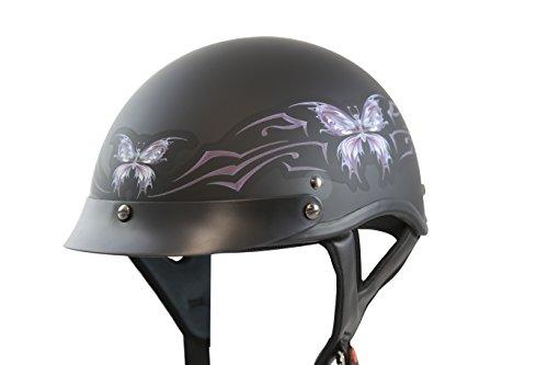 VCAN V531 Cruiser Intricate Butterfly Flat Black Large Half Helmet