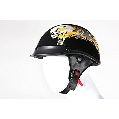 DOT Approved Black Helmet with Flaming Skull-Size SMALL