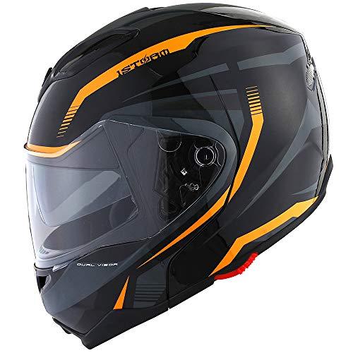 1Storm Motorcycle Street Bike ModularFlip up Dual VisorSun Shield Full Face Helmet Storm Tron Orange