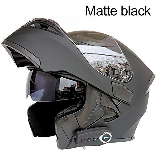 DoCred Bluetooth Integrated Modular Flip up Full Face Motorcycle Helmet Sun Shield Mp3 Intercom Matte Black M