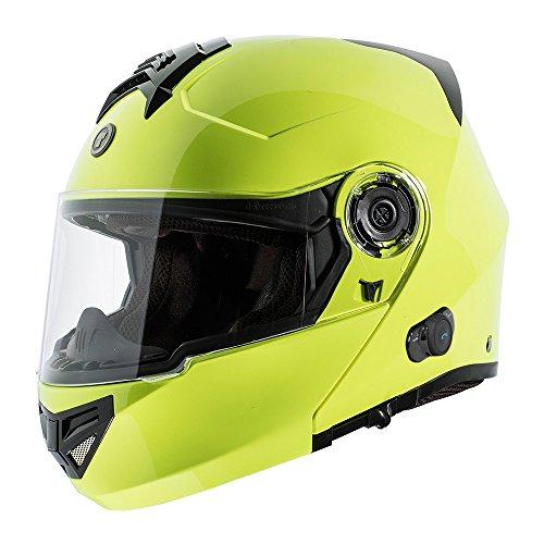 TORC T27B Full Face Modular Motorcycle Helmet Integrated Blinc Bluetooth With Graphic Hi Viz Yellow