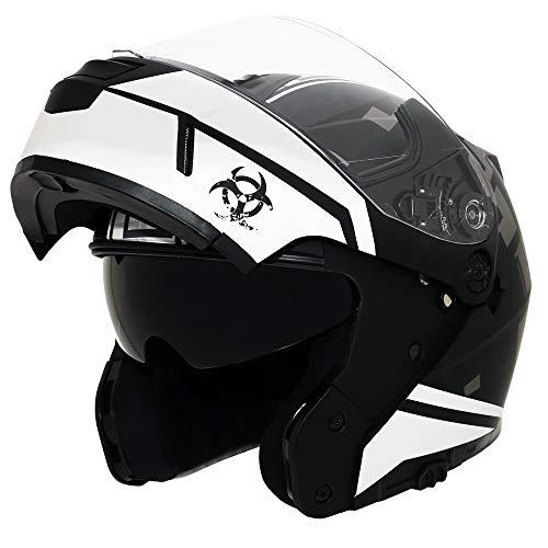 Triangle Motorcycle Helmets Modular Dual Visor Flip Up Large Matte BlackWhite