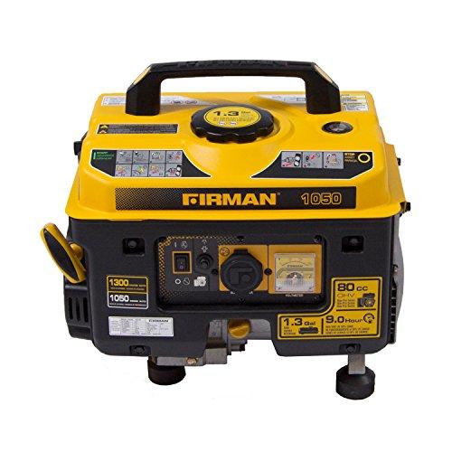 Firman P01001 13001050 Watt Recoil Start Gas Portable Generator CARB and cETL Cert Black