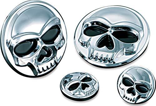 Kuryakyn 1491 Motorcycle Accent Accessory Large Zombie Skull Medallions 2 Diameter Chrome 1 Pair
