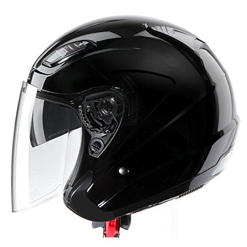 GLX DOT 34 Open Face Dual Visor Scooter Motorcycle Helmet Lightweight Gloss Black