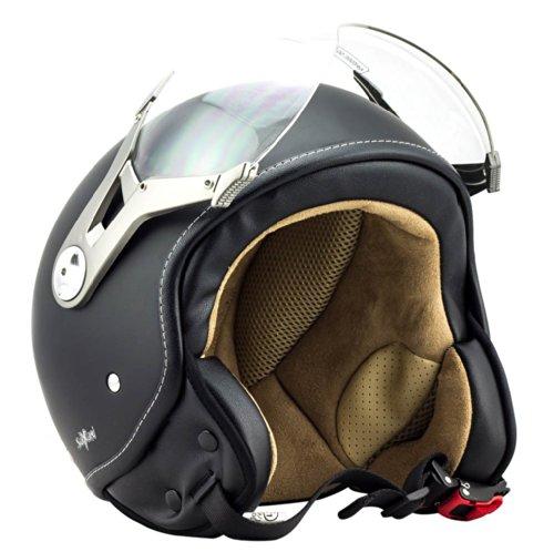 SOXON SP-325 night - Jet Vespa Scooter Motorcycle Moto Helmet Pilot Urban black - S 55-56cm