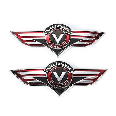 3D 2PCS Motorcycle Gas Tank Emblem Badge Chrome for Kawasaki Vulcan VN Classic