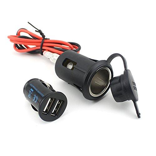 E-Bro 12V Motorcycle Car Cigarette Lighter Socket Power Plug  Dual USB Charger