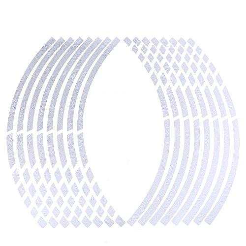 POSSBAY 16Pcs Wheel Rim Sticker Reflective Decal Stripe Tape 17-19 for Motorcycle Car Bike