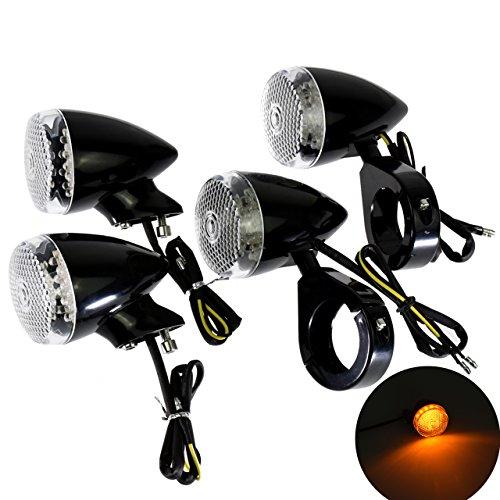4Pcs Motorcycle Front Rear LED Turn Signal Indicator Light w41mm Fork Clamp for Harley Sportster Dyna Bobber BlackWhite