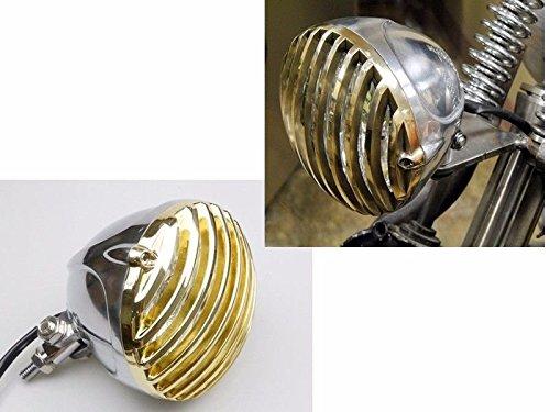 ChromeGold Scalloped Brass Finned Grill For Harley Sportster Dyna Bobber Cafe Racer Tri XS650 CB750 XL Chopper