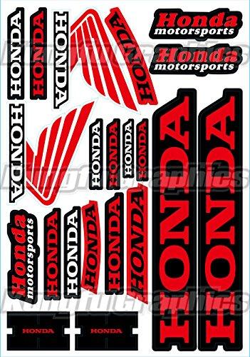 Kungfu Graphics Honda Wing Sponsor Logo Racing Sticker Sheet Universal 72x 102 inch Red Black