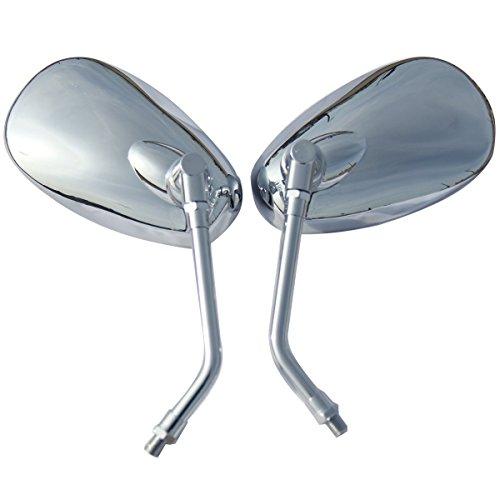 One Pair Chrome Oval Rear View Mirrors for 2006 Suzuki Boulevard M50 Black