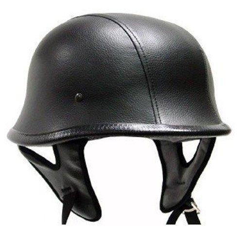 Black Leather German Motorcycle Helmet DOT Large