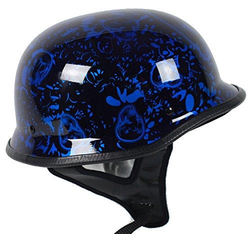 Blue Skull German Motorcycle Helmet DOT Large