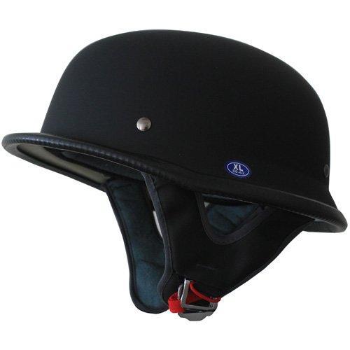German Motorcycle Half Helmet Low Profile Flat Black L