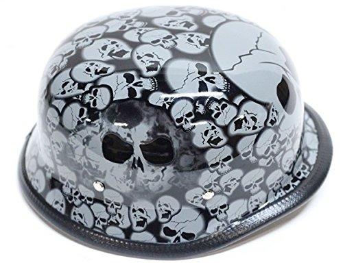 Gray Skull Graveyard German Novelty Motorcycle Helmet Size L LG Large