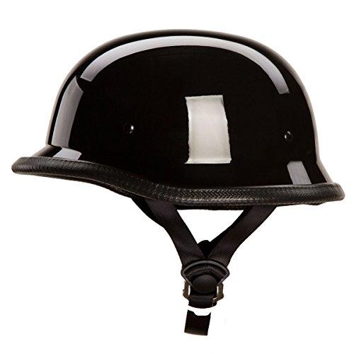Low Profile Novelty German Chopper Half Helmet Skull Cap Gloss Black M