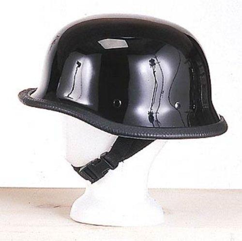 Novelty Shiny Black German Biker Motorcycle Helmet Small