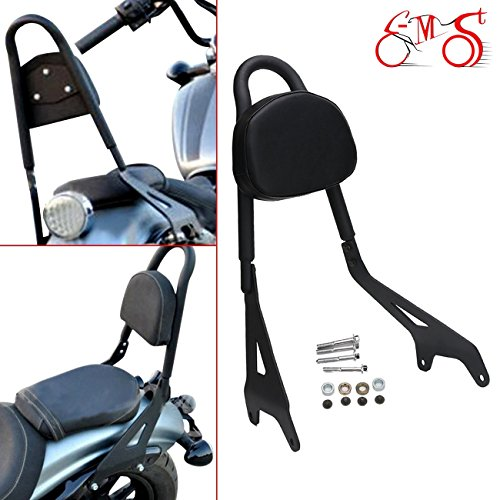 E-Most Detachable Driver Rider Backrest Sissy Bar Mount Set Rear Passenger Pad With Leather Back Rest Seat Pad Luggage Rack for 2014-2017 Yamaha Star Bolt XV950 XVS950