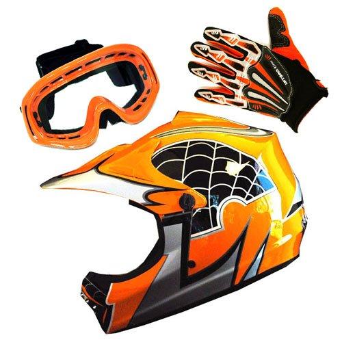 Motocross MX BMX Bike Youth Spider Orange Helmet Size Medium  Goggle  Skeleton Glove Size Medium
