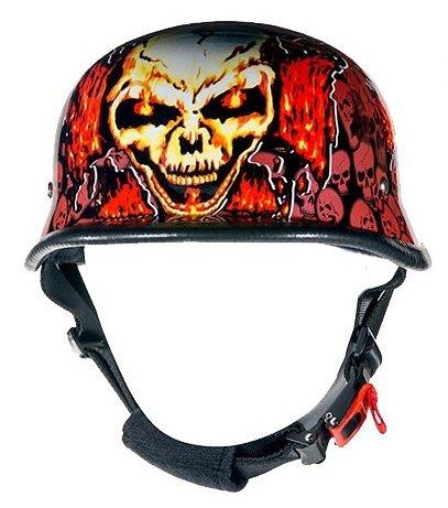 Orange Skull Graveyard Chopper Cross Novelty Motorcycle Helmet Size S SM Small