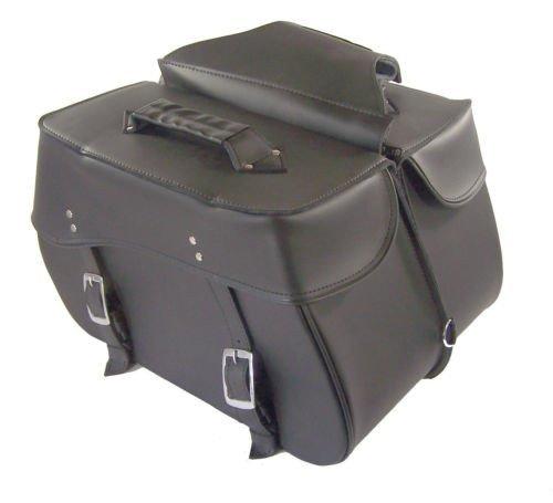 Saddlebags set for harley dyna super glide 3 straps