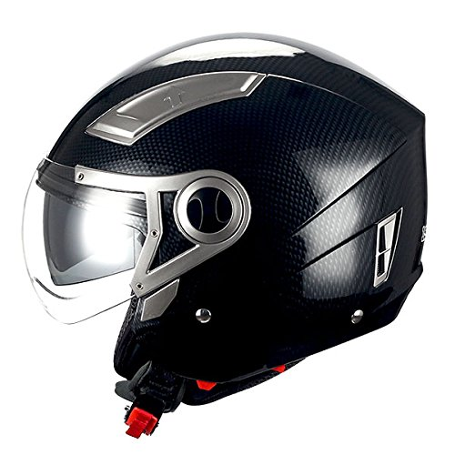 1STORM MOTORCYCLE OPEN FACE HELMET SCOOTER BIKE DUAL LENSSUN VISOR Carbon Fiber Black