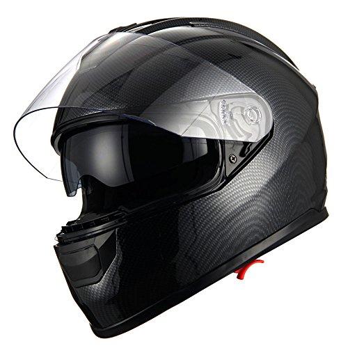 1Storm Motorcycle Face Helmet Dual LensSun Visor Carbon Fiber Black