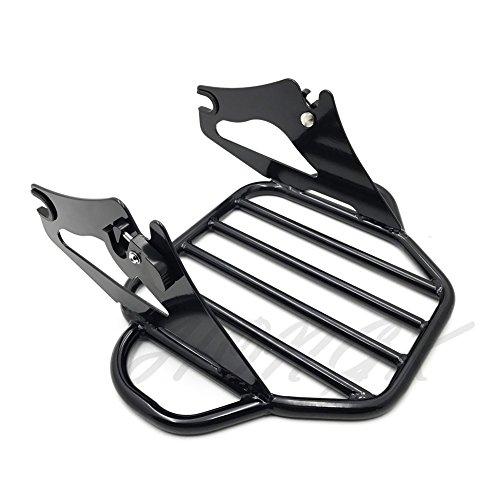 HongK- Gloss Black Detachable Luggage Rack For 09-16 Harley Road KingStreet Glide