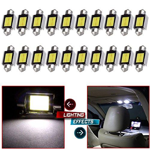 CCIYU 20x White Error Free CANBUS 36mm COB LED Bulbs DE3423 for Dome Light TrunkCargo Area Light StepCourtesyDoor Light MirrorVanity Sunvisor Light License Plate Light