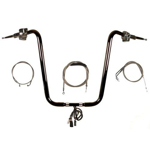 1 14 Black 20 Ape Hanger Handlebar PKit for 1996-2005 Harley-Davidson Dyna models - CMPT-11420GB-PDY05