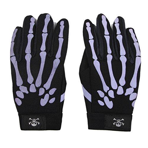 Exlight Womens Purple Skeleton Mechanic Gloves Black and Purple XL