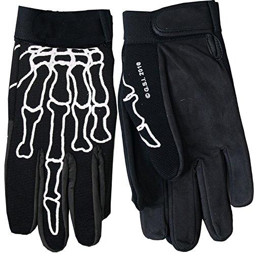 Hot Leathers Skeleton Finger Mechanic Gloves Black Large