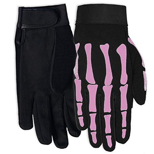 Hot Leathers Womens Pink Skeleton Mechanic Gloves Black Medium