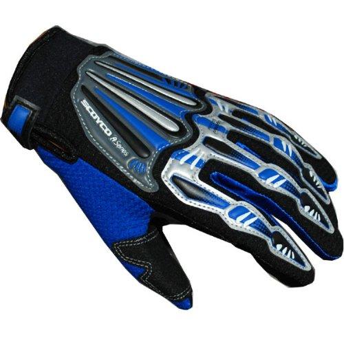 Motocross Motorcycle BMX MX ATV Dirt Bike Skeleton Racing Gloves Blue