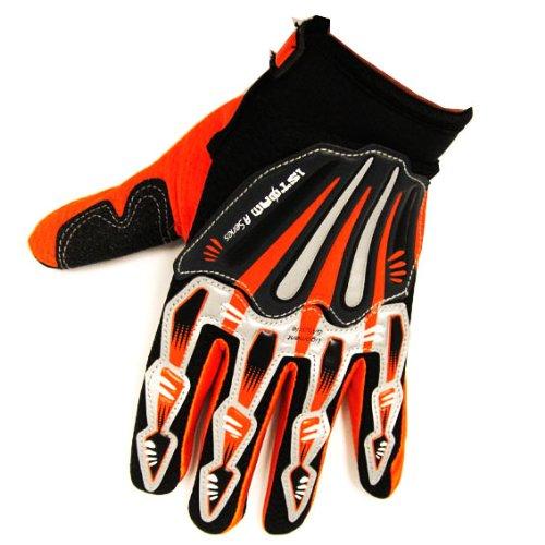 Motocross Motorcycle BMX Mx ATV Dirt Bike Skeleton Racing Gloves Orange