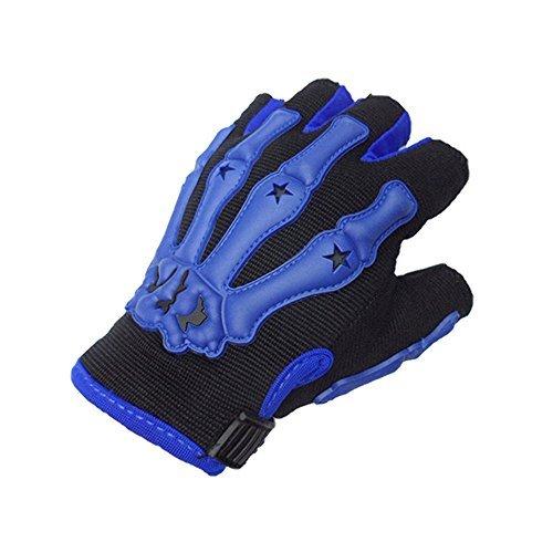 Qiorange Pro Bone Skeleton Perforated Fingerless Motorcycle Motorbike Half Gloves blue M